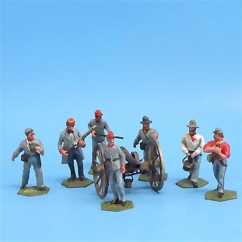 CORD-3029 - Confederate Artillery Crew (7 Figures - New Hope Design) and Gun