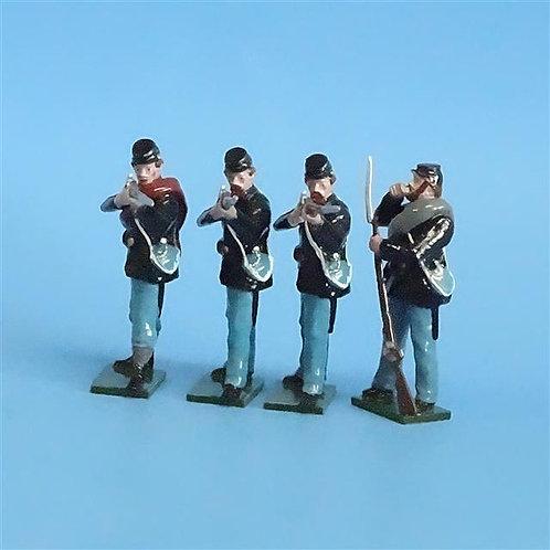 CORD-254 - Union Infantry Firing Line (4 Figs) - Tradition - 54mm Metal - No Box