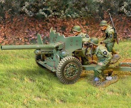 CS00587 - US 2nd ID 57mm Anti-Tank Gun 3 Figs & Ammo Shells, Box