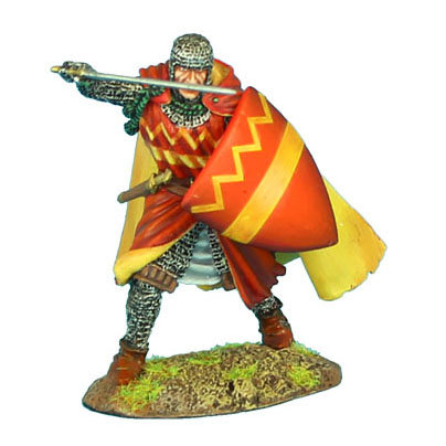 CRU071 - Crusader Knight with Cloak with Sergines Family Heraldry