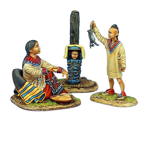 AWI098- Woodland Indian Squaw with Boy Hunter and Baby