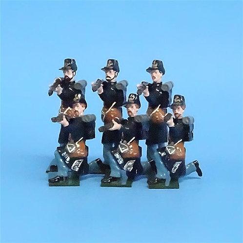 CORD-098 Iron Brigade Firing (6 Figs) - Fusilier Miniatures - 54mm Metal  No Box