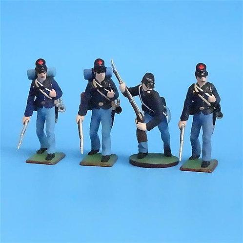 CORD-032 -Union Infantry Advancing (4 Figs)  - ACW - Niena - 54mm Metal - No Box