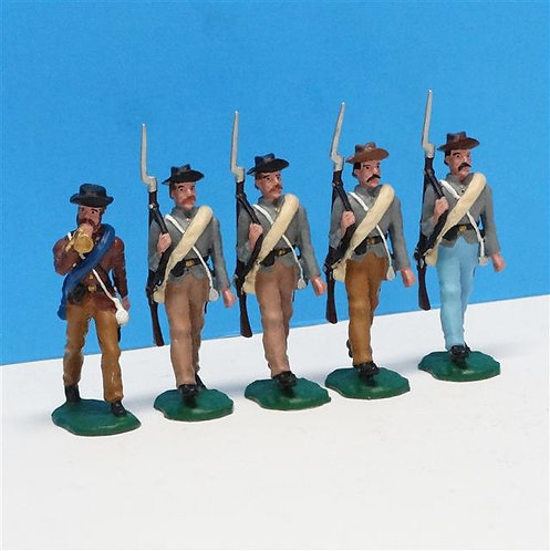MI-309 - Confederates Marching (5 figs) ACW - 54mm Metal - No Box