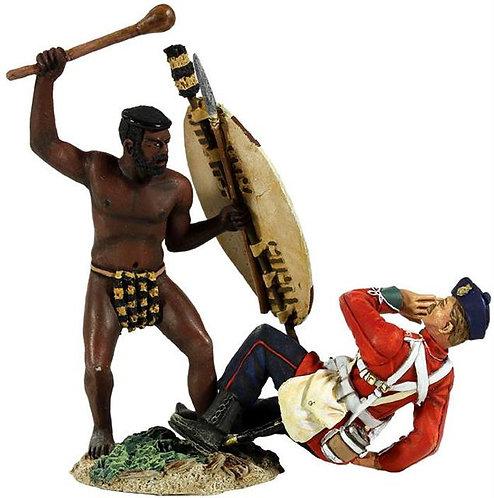 "20148 - ""Overwhelmed"" - Zulu Warrior Attacking British 24th Foot with Knobkerri"