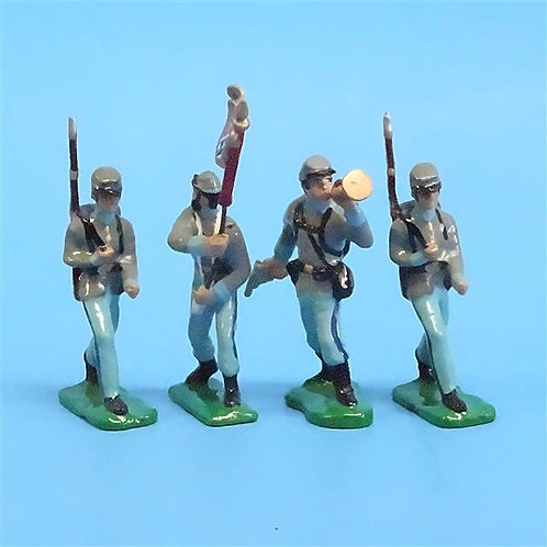 CORD-0758 Confederates Marching (4 Figures) - ACW - Unknown Manufacturer - 54mm