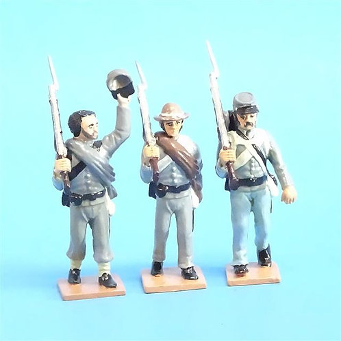 CORD-0596 - Confederates Marching (3 Figures) - ACW - Battle Line - 54mm Metal