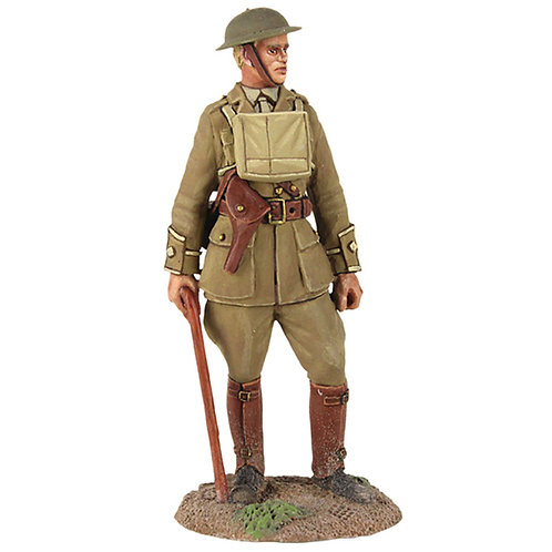 23075 - 1916-18 British Infantry Officer Standing with Walking Stick