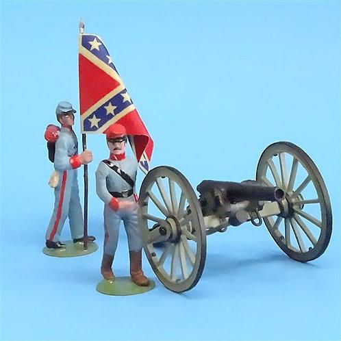 CORD-3043 - 2 Confederate Artillery Crew (Alymer) and Gun (Britains) ACW - 54mm