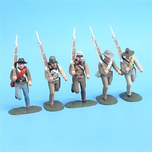 CORD-0575 Confederate Infantry Running (5 Figures) - ACW - Soldiers of the World