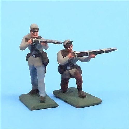 CORD-0822 - Confederates Firing (2 Figures) - ACW - Unknown Manufacturer - 54mm