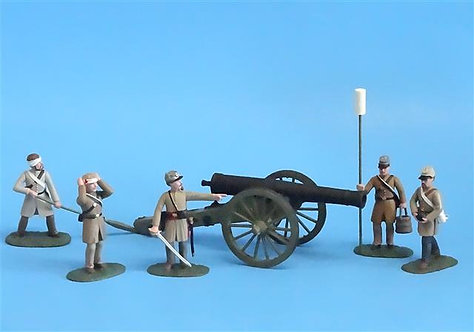 CORD-3010 - Confederate Siege Cannon with 5 Crew - ACW - Soldiers of the World