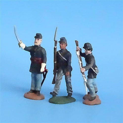 CORD-261 - Union Infantry (3 Figs) - Unknown Manufacturer - 54mm Metal - No Box