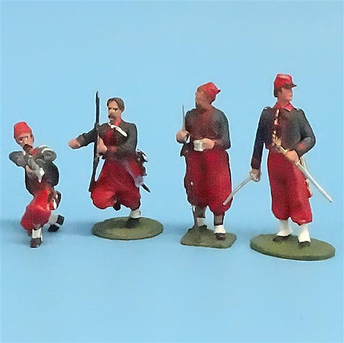 CORD-328 -Union Zouaves (4 Figures) - Unknown Manufacturer - 54mm Metal - No Box