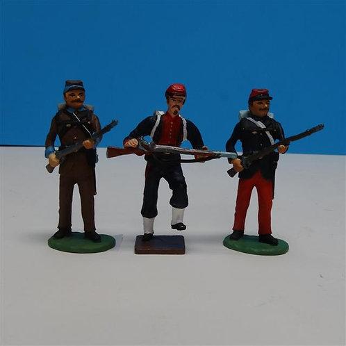MI-265 - 3 Civil War Soldiers - Various Manufacturers - 54mm Metal - No Box
