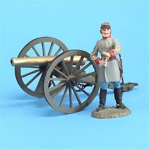 CORD-3045 Confederate Artillery Officer (Franklin Mint) w/ Gun (Britains) - ACW