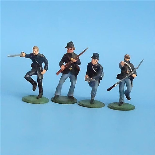 CORD-256 Union Infantry (4 Figures) - Unknown Manufacturer - 54mm Metal - No Box