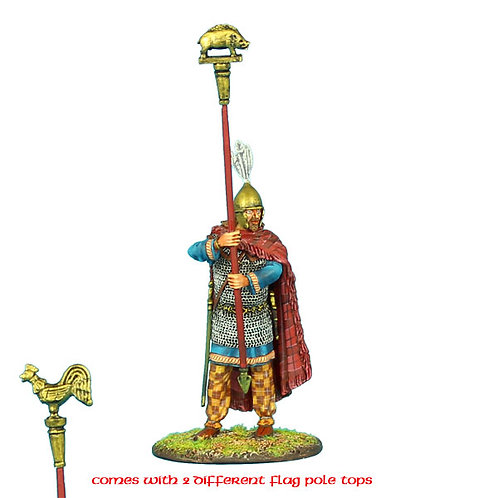 ROM081 - Gallic Standard Bearer with Rooster and Boar Icons