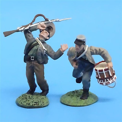 CORD-0689 Confederate Drummer and Wounded Set - ACW Britains (Set 17109) - 54mm