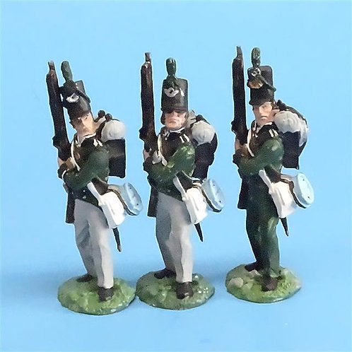 CORD-N0127 - 95th Rifles - Port Arms (3 Pieces) - All the King's Men 54mm Metal