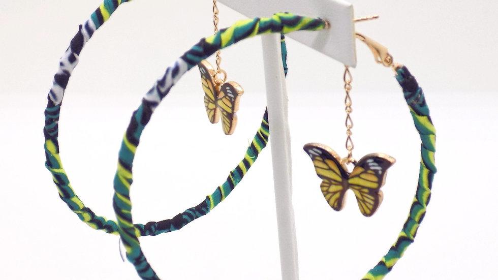 Butterfly Charm Hoop Earrings