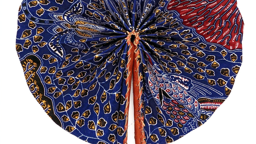 Ankara and Leather Folding Fan