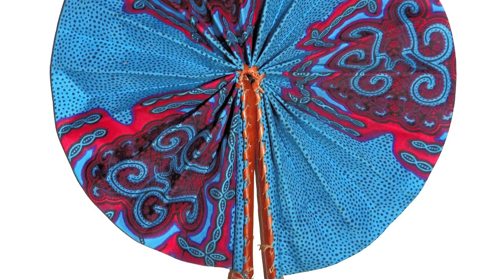 Ankara and Leather Folding Fan