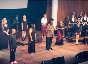 On stage with fellow Africa Voices participants - Martin Venter