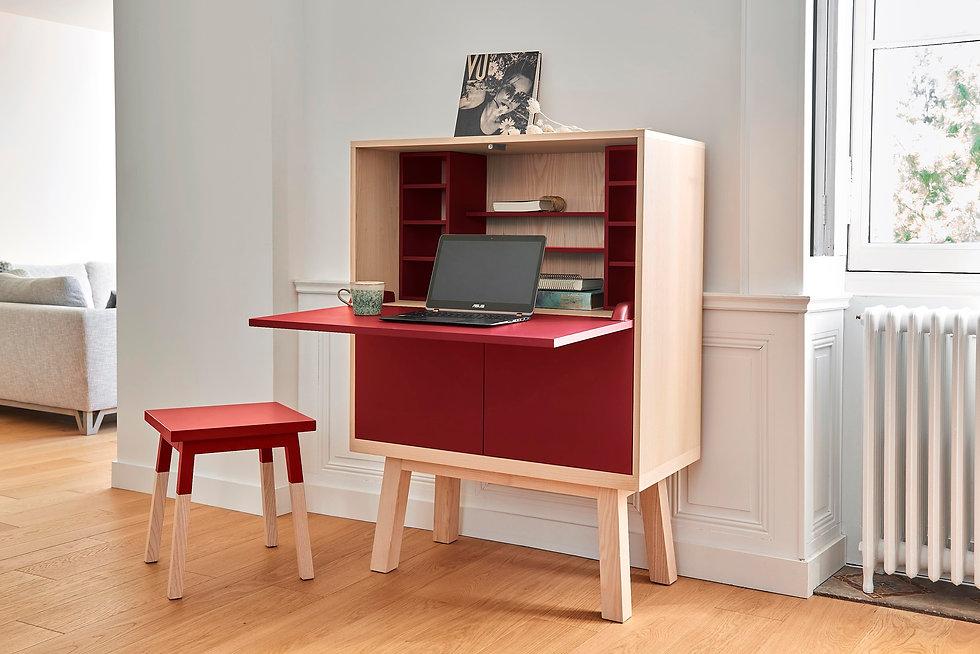 Bureau Secretaire Kube en bois design scandinave