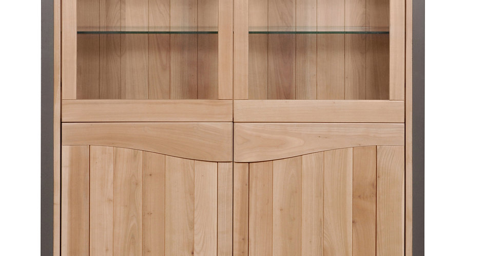 Showcase cabinet 4 doors - in cherywood -  STELLA collection