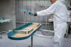 finition console ovale en bois massi