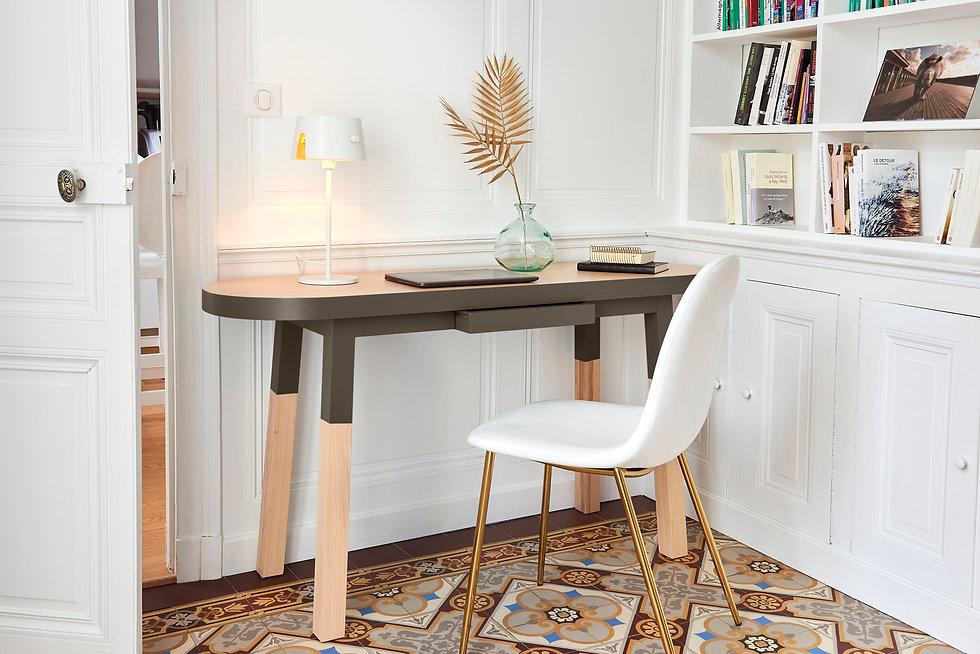 Bureau Console en bois massif design scandinave