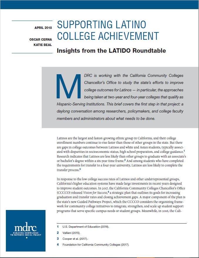 Supporting Latino College Achievement