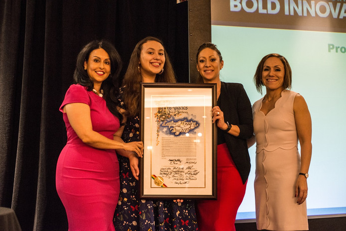 Proclamation Presentation from Nury Martinez and Paolina Acuna-Gonzalez with Conference Chair Ana Guerrero and co-chair Aime Beltran