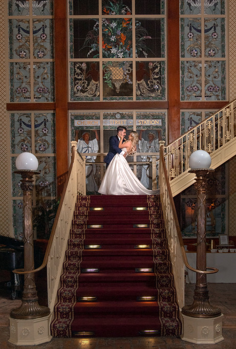 Wedding Grand Staircase Bride Groom