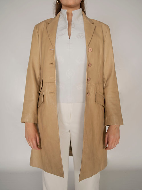 Vintage Beige Leather Coat
