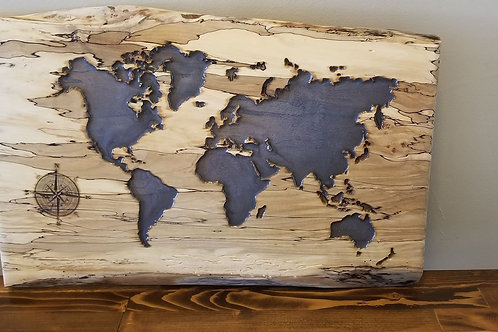 Spalted Maple World Map