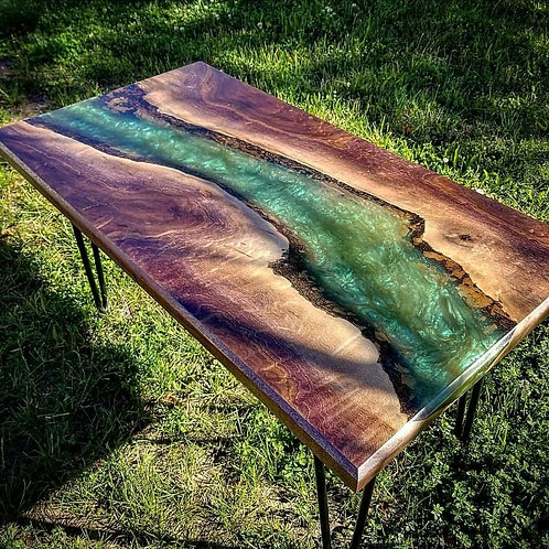 Black Walnut with Green Epoxy coffee table