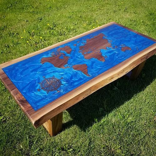 Black Walnut World Map Coffee Table