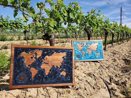 Epoxy World Map Wall Art