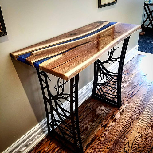 Blue Epoxy Console/Entry Table