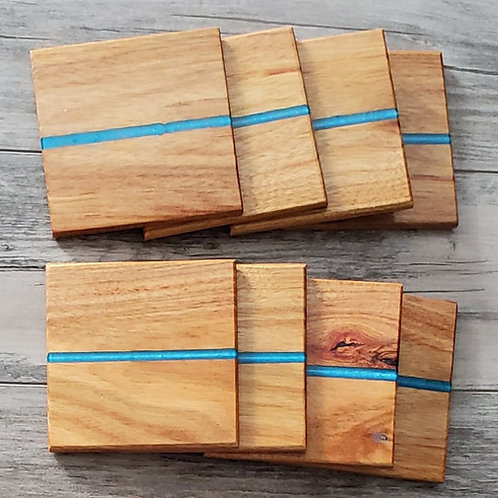 Canary Wood with Blue Epoxy Coaster