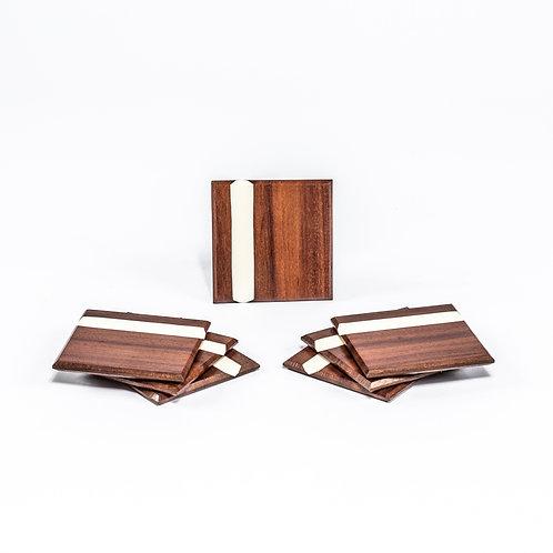Set of 4 Katalox Coasters with White epoxy