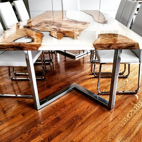 Maple Dining Room Table with White Epoxy