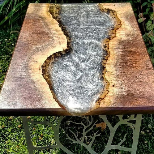 Black Walnut with Silver Epoxy River Table