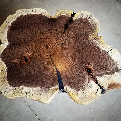 Black Walnut Round Crosscut Coffee Table