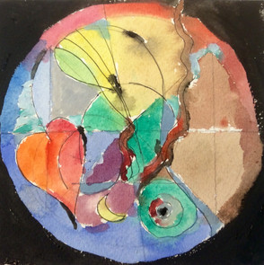 Watercolour, Gouache, Pastel, Ink on paper in a box frame 25cmx25cm $250