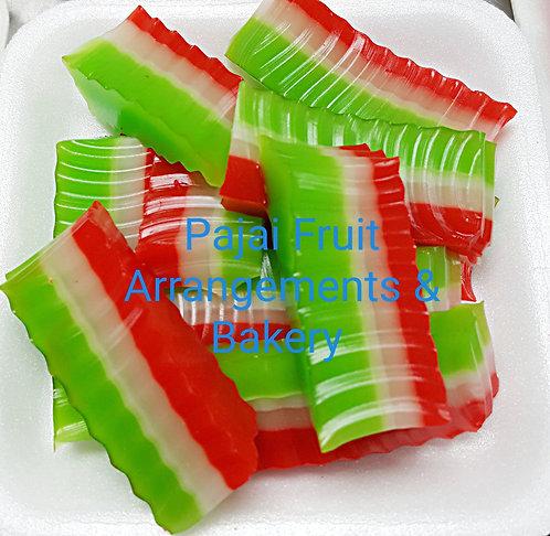 "Small party tray ""Hmong coconut-pandan layer jello"