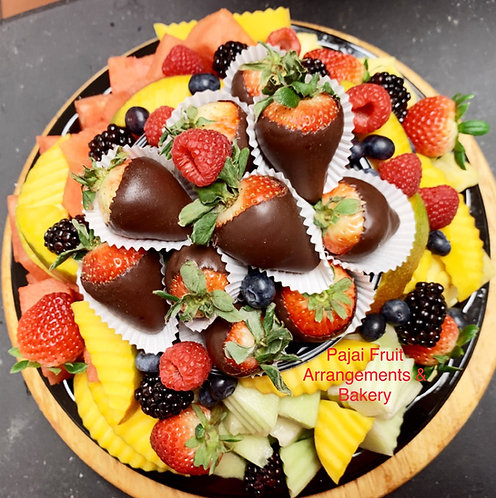 Small party fruit patter with a dozen chocolate dipped strawberry