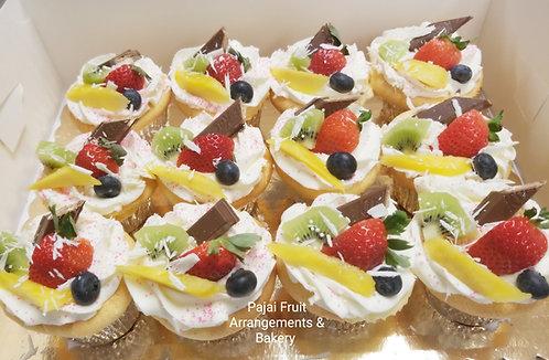 A Dozen (12) sponge fruit cupcakes